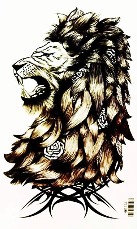 Amazon Com The Fierce Lion In The Amazon Forest Cartoon Tattoos 6x8
