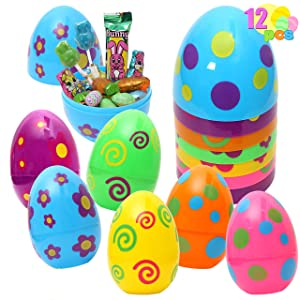 12 Pieces Printed Colors Giant Easter Eggs with 6 inches Tall for Easter Eggs Hunt, Easter Basket Stuffers/Fillers, Easter Filling Treats, Party Favor, Classroom Prize Supplies