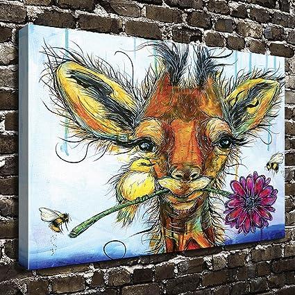 Amazon.com: COLORSFORU Wall Art Painting Giraffe Prints On Canvas ...