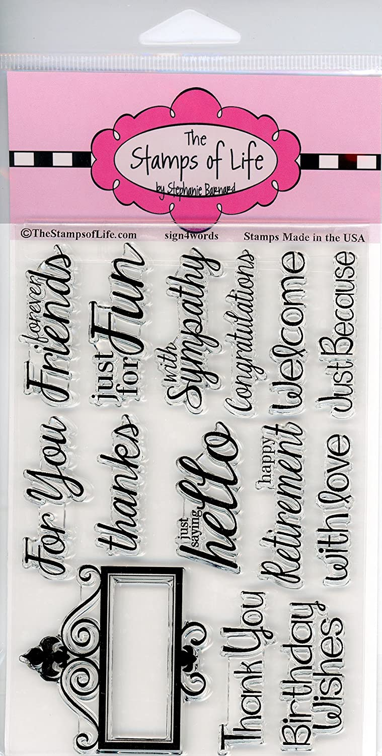 Sign4Words Design Script Sign Sentiment Scrapbooking Stamps for Card Making by The Stamps of Life
