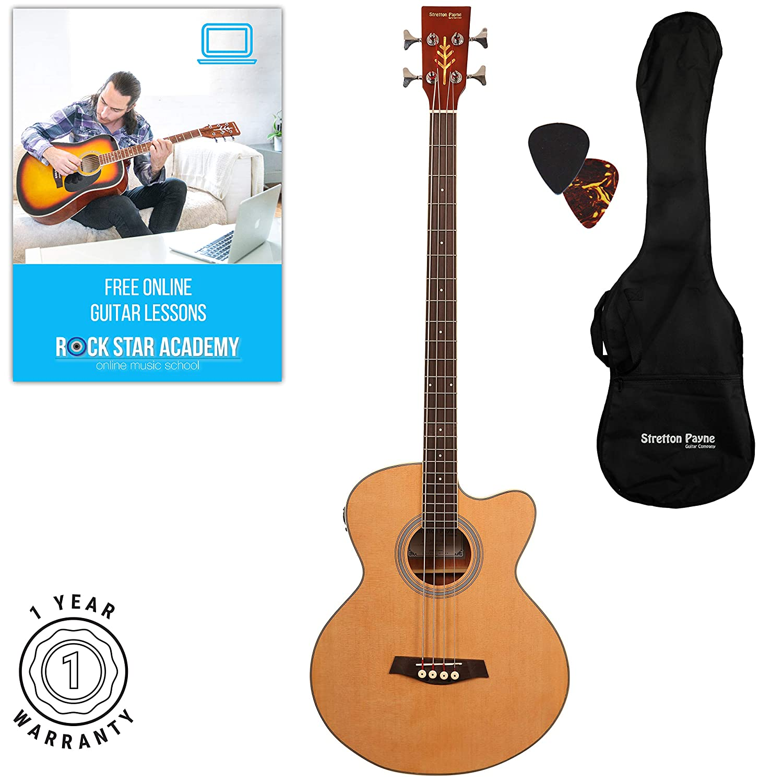 Stretton Payne - Guitarra acústica de bajo con electrónica para enchufe Pizarra superior de palisandro: Amazon.es: Instrumentos musicales