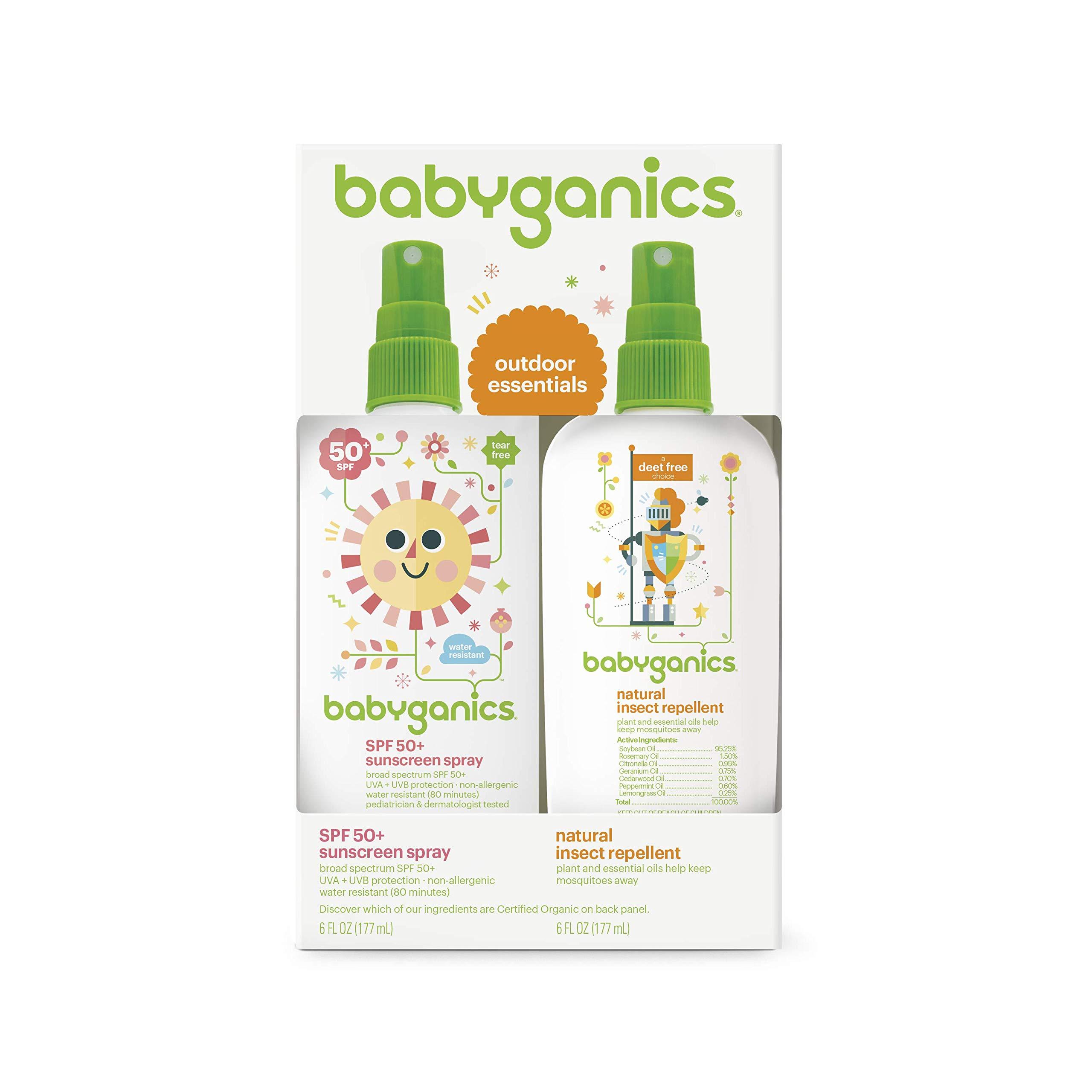Babyganics Baby Sunscreen Spray SPF 50, 6oz Spray Bottle + Natural Bug Spray 6oz Spray Bottle Combo Pack by Babyganics