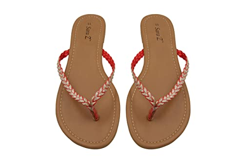 84222a4c9 Sara Z Womens Braided Glitter Strap Flip Flop Thong Sandal Size 5 6 Coral