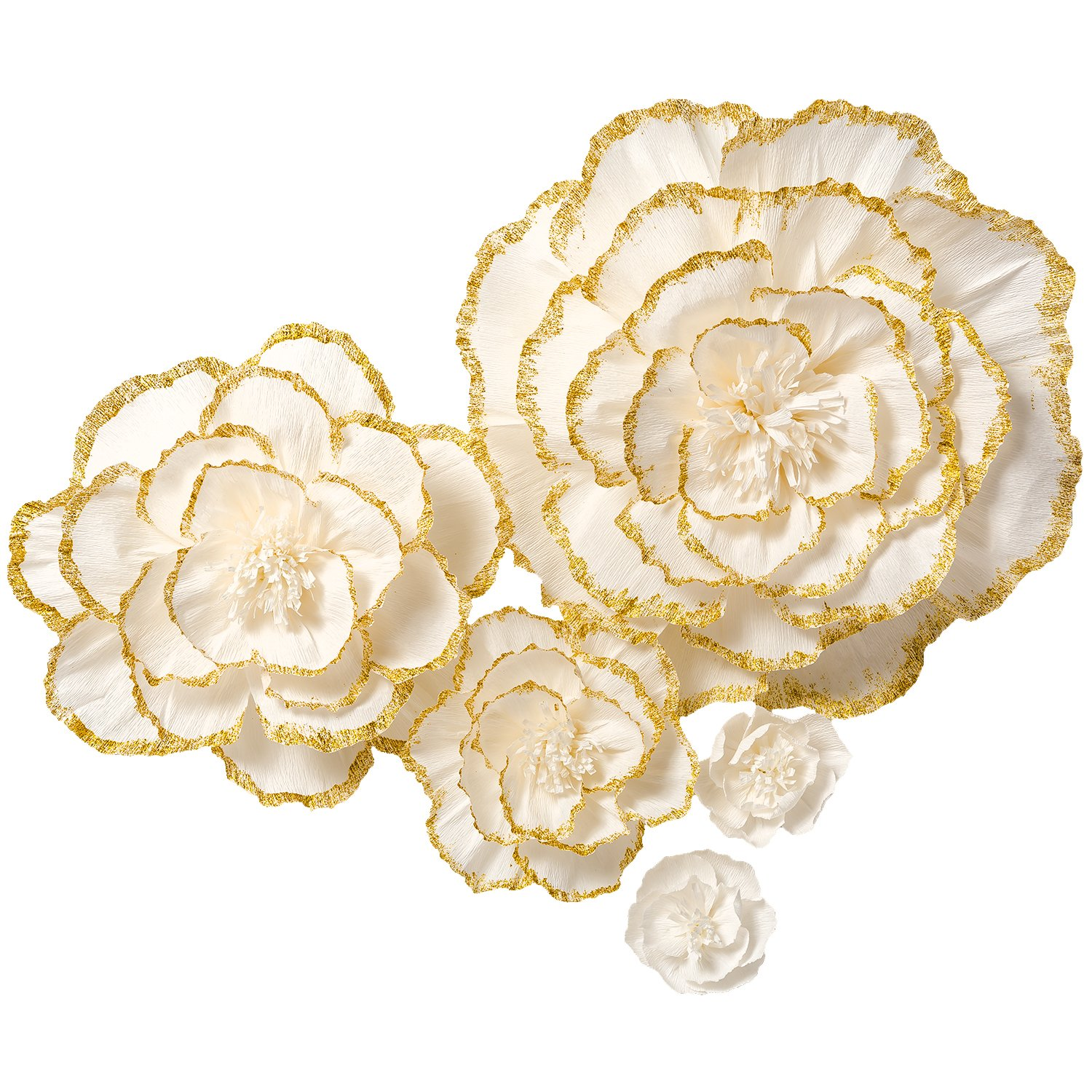 Handcrafted Flowers,Crepe Paper Flowers,Large Paper Flowers,For Baby Nursery Home Decor,Baby Shower,Nursery Wall,Wedding Backdrop,Wall Decor,Archway Decor(Gold flash Powder Edge Flowers Set of 5