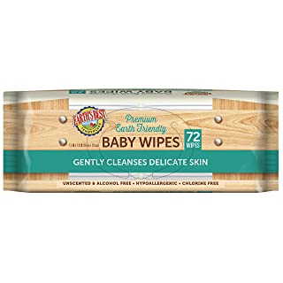 Earth's Best TenderCare Unscented Chlorine-Free Baby Wipes, 72 Count (Packaging May Vary)