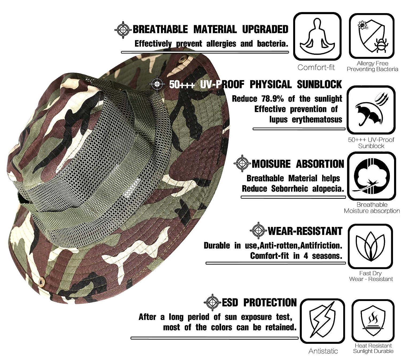 Miltroy FOR/ÊT Tropicale Hommes Respirant For/êt Tropicale du Congo Vert Camouflage Chapeau Boonie pour P/êche avec Anti-Moustiquaire Gratuite