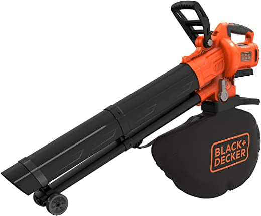 Black+Decker BCBLV36B Accubladzuiger/blazer met hakselaar, 45 liter opvangzak, borstelloze motor, 210 km/u luchtsnelheid en hoog zuigvermogen – 36 V, levering zonder accu en oplader