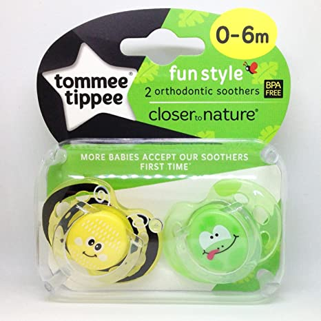 Tommee Tippee Closer To Nature: 2 x Chupete 0-6m (Abeja/Rana ...