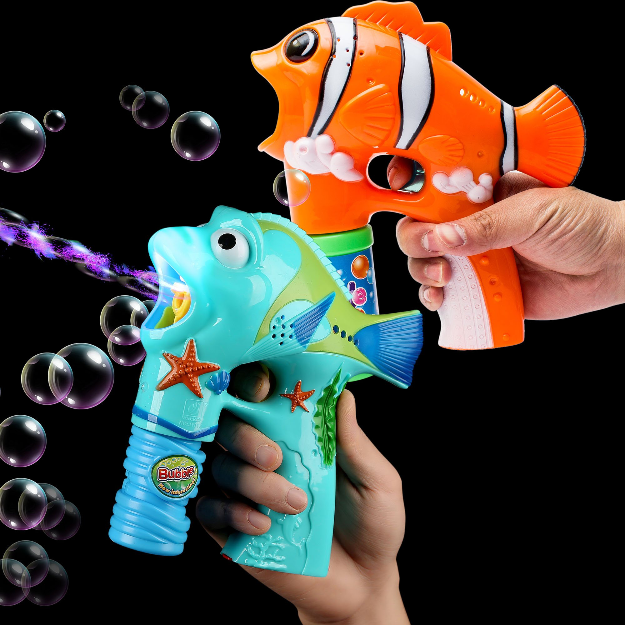 Fun Central BC887, 2 Packs, 6 Inches Fish LED Bubble Gun, Fish Bubbles for Kids, Fish Bubble Toys, Fish Bubble Gun - Assorted