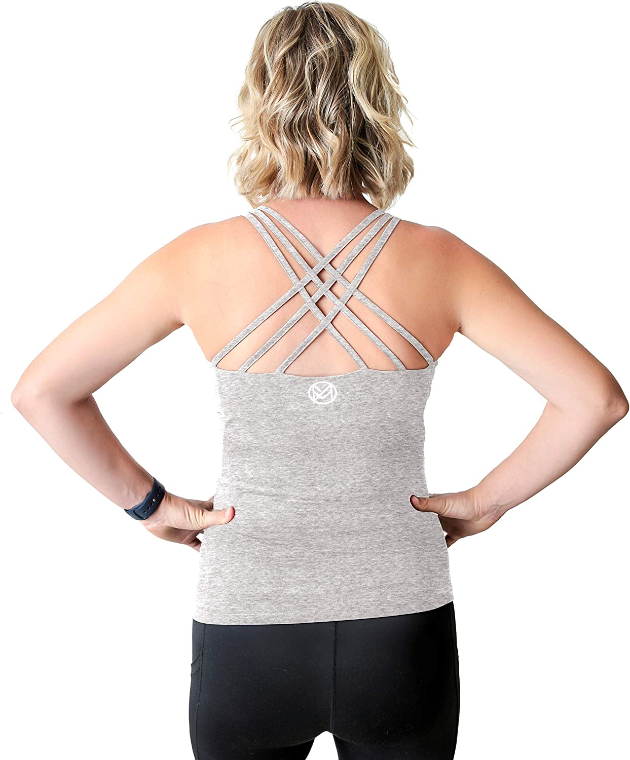 Movemama Maternity Workout and Yoga Top with Cross Back Detail, Shelf Bra and Removable Padding at  Women's Clothing store