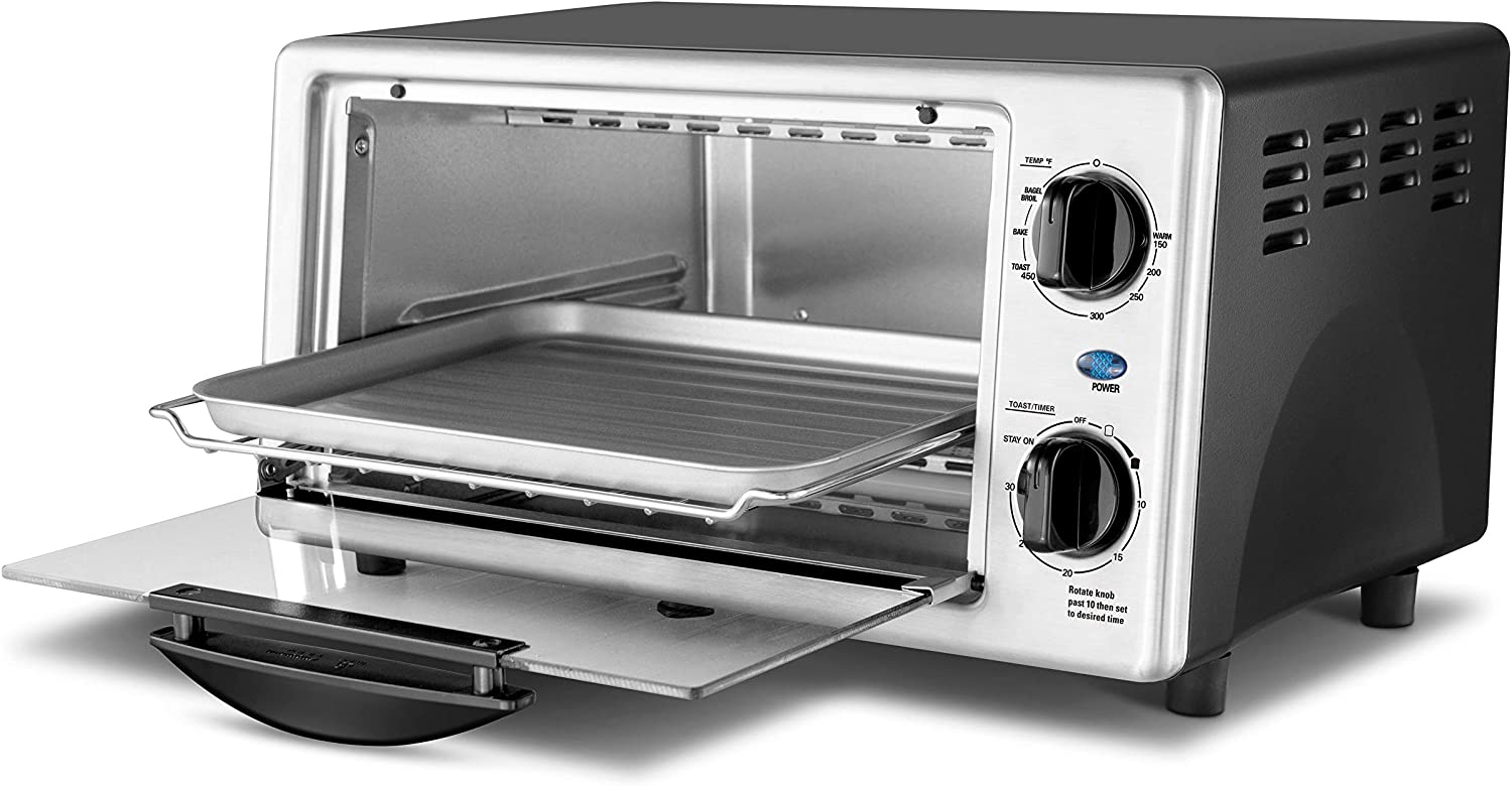 1000W Compact Size SS Comfee Toaster Oven Countertop Easy to Control with Timer-Bake-Broil-Toast Setting CFO-BC10 4-Slice Stainless Steel