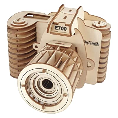 BestPysanky 57 Pieces Camera Model Kit - Wooden Laser-Cut 3D Puzzle: Toys & Games