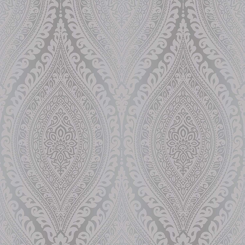 Kismet Damask Glitter Wallpaper Silver Grandeco A17703 Amazon Com