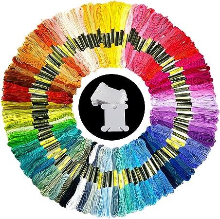 Pllieay 100 Madejas Bordado Hilos de Aleatorio Colores Algodón ...