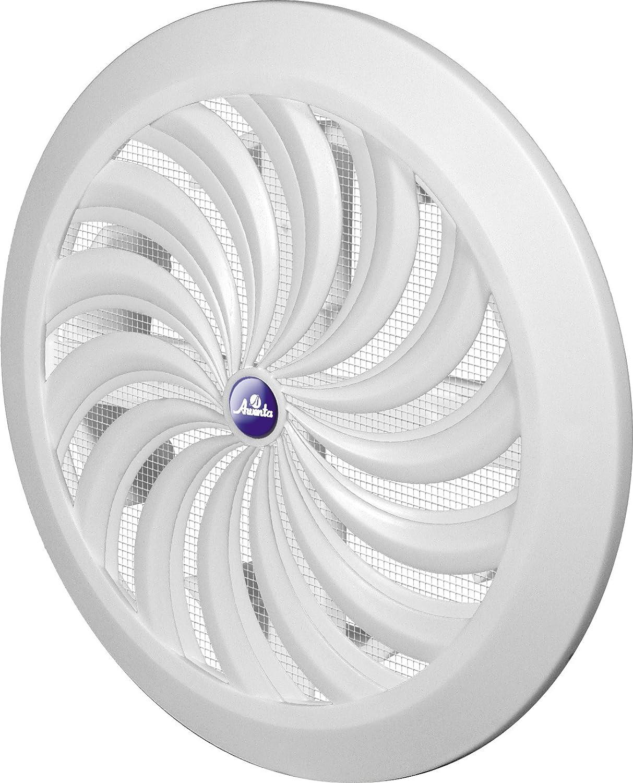 Griglia di ventilazione T 95, Ø 100mm, 10cm, rotonda, bianca, chiudibile, in plastica, zanzariera, griglia di protezione dagli insetti, griglia di chiusura, griglia di ventilazione, per far entrare e uscire aria, griglia, ventilazione MKK