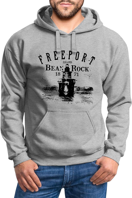 Neverless® Hoodie Herren Retro Print Leuchturm Motiv Schriftzug Freeport Island Kapuzen-Pullover Männer Vintage Leuchtturm Grau