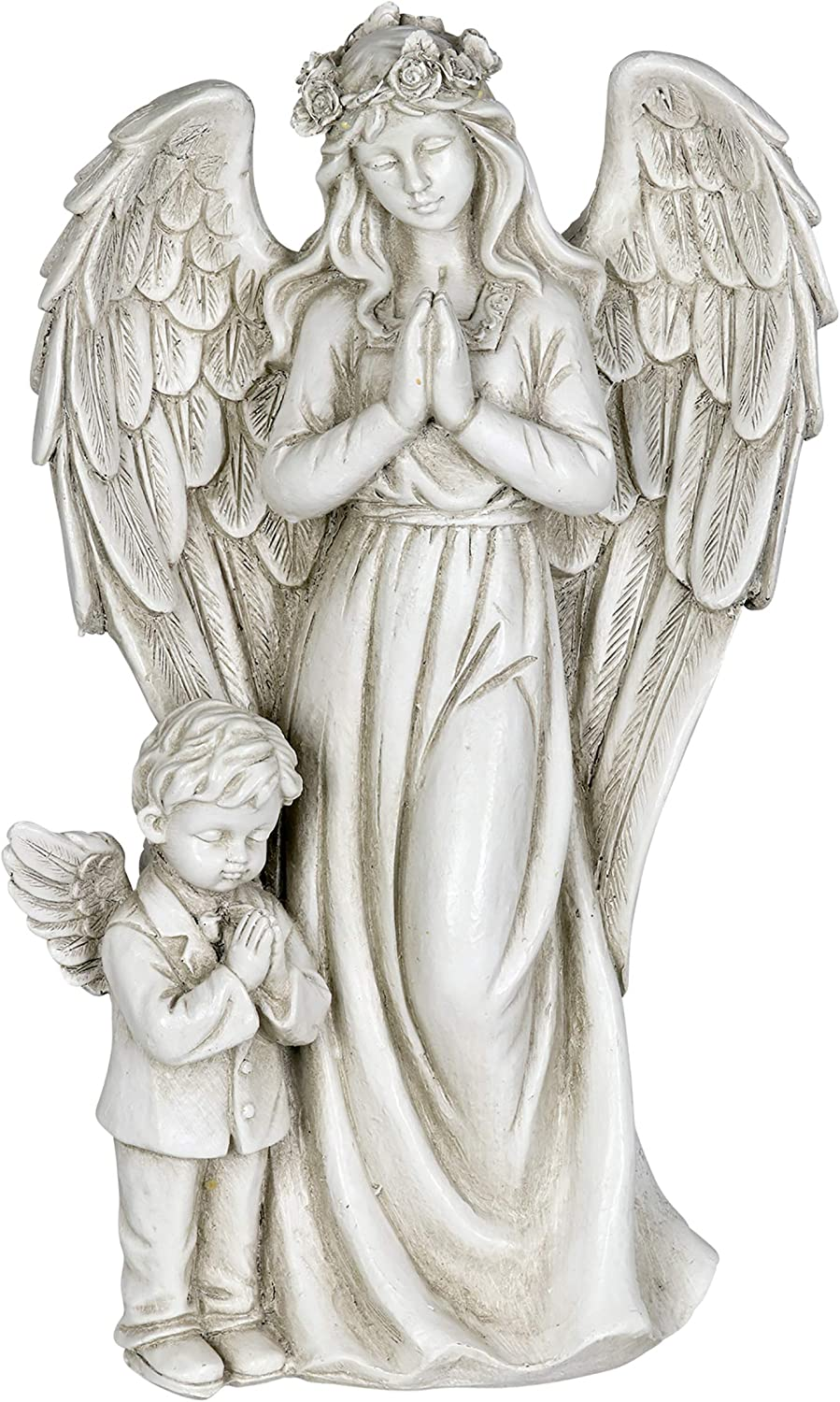 "Exhart Angel Garden Statue with Little Boy – Light Up Resin Angel Figurines Feature Battery-Powered LED Lights Timer - Angel Resin Statues, Memorial Decoration 8"" W x 14"" H"