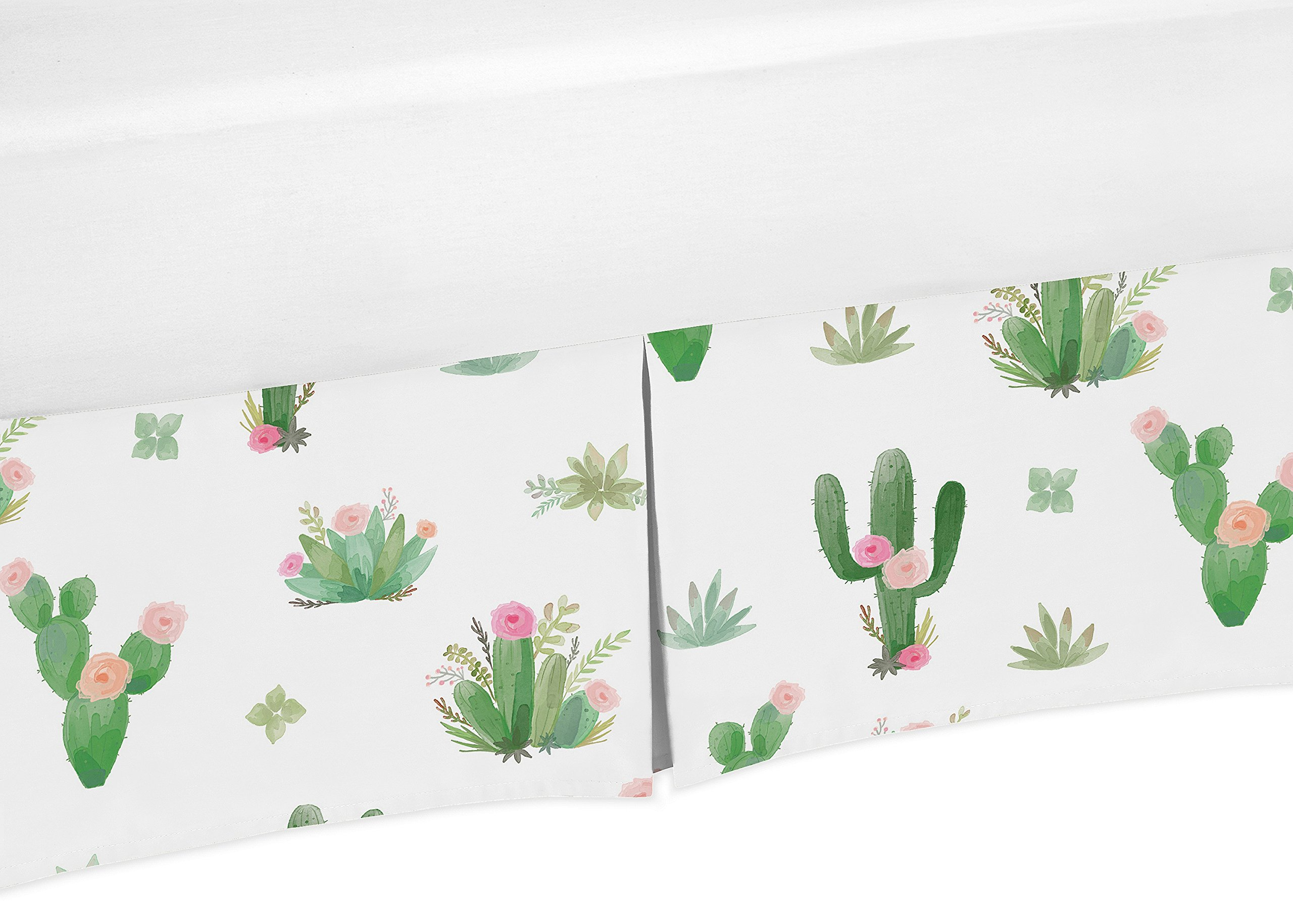 Pink and Green Cactus Floral Pleated Toddler Bed Skirt Dust Ruffle Boho Watercolor for Collection by Sweet Jojo Designs