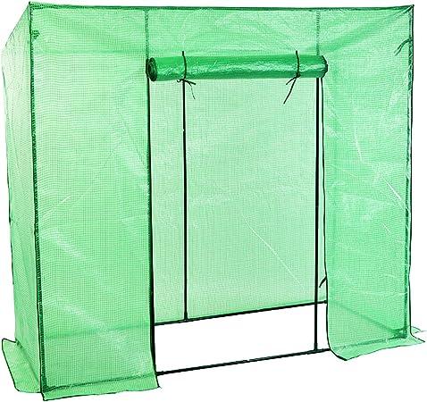 FineHome - Invernadero de plástico con Rejilla y Puerta Enrollable para jardín, para Tomates, con Techo Inclinado, Color Verde, 200 x 77 x 169 cm: Amazon.es: Jardín