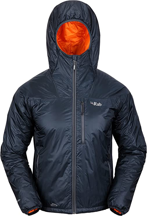 Image of a hoodie with shiny/waterproof cloth outer, a zipper for closure, one front pocket positioned vertically. just beside the main zipper.