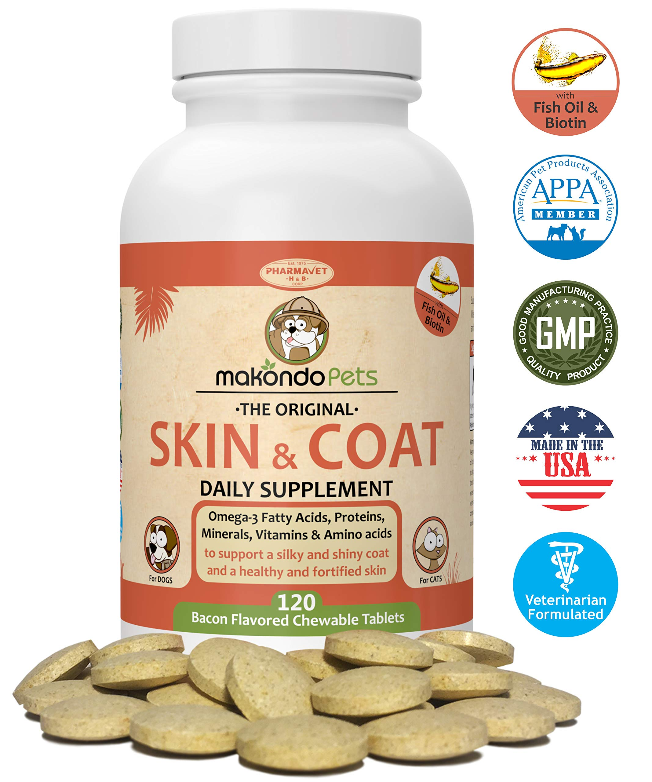 Skin and Coat Supplement for Dogs and Cats - Fish Oil for Dogs Fatty Acids, Vitamins, Amino Acids, Minerals & Omega 3 for dogs -Relieve Dog Dry Skin Itchy Dog Hot Spots & Shedding (120 Tablets) by Makondo Pets