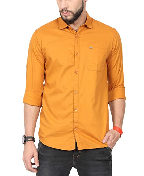 9fc23d7f04 NORTH REPUBLIC Men s Plain   Solid Cotton Full Sleeves Slim Fit Stylish Casual  Shirt (Yellow