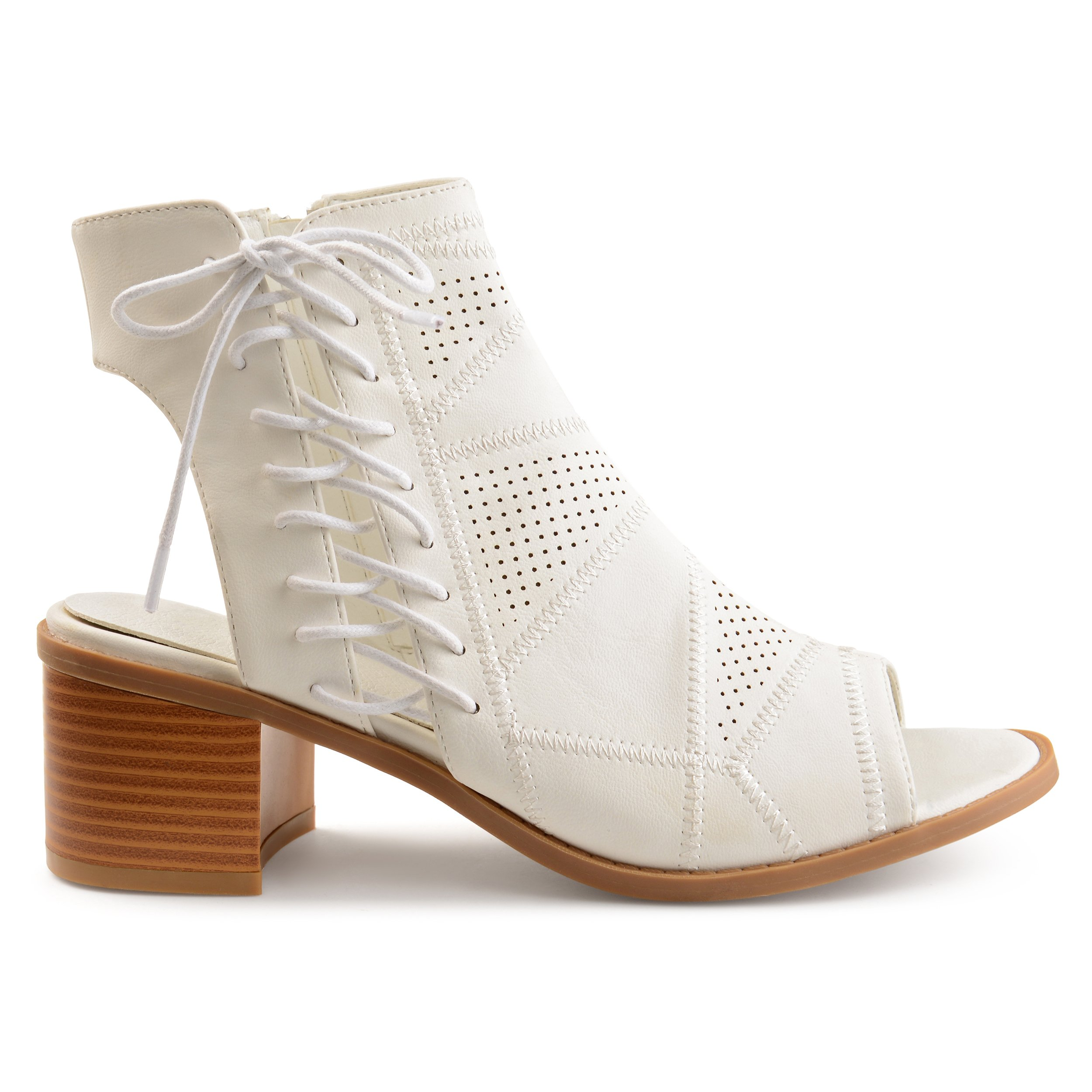 Brinley Co Womens Elva Faux Leather Side Lace-up Perforated Cut-Out Heel Booties White, 8.5 Regular US