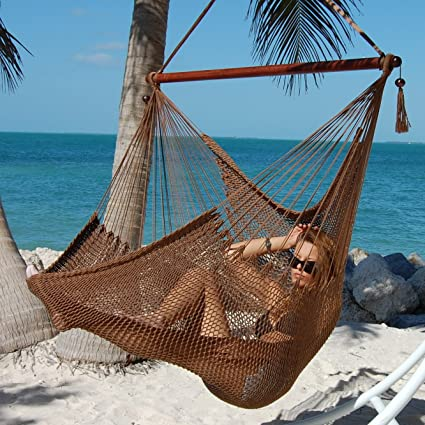 Large Caribbean Hammock Chair With Footrest   48 Inch   Polyester   Hanging  Chair   Mocha
