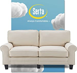 "Serta Copenhagen Sofa Couch for Two People, Pillowed Back Cushions and Rounded Arms, Durable Modern Upholstered Fabric, 73"", Buttercream"