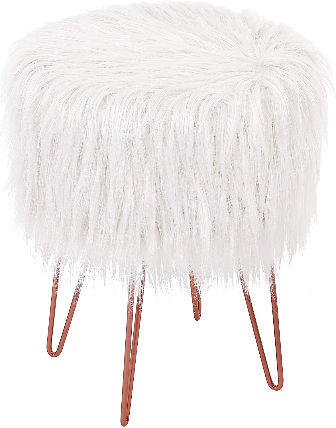 BIRDROCK HOME White Faux Fur Foot Stool Ottoman – Soft Compact Padded Seat - Living Room, Bedroom and Kids Room Chair – Hair Pin Metal Legs Upholstered Decorative Furniture Rest – Vanity Seat