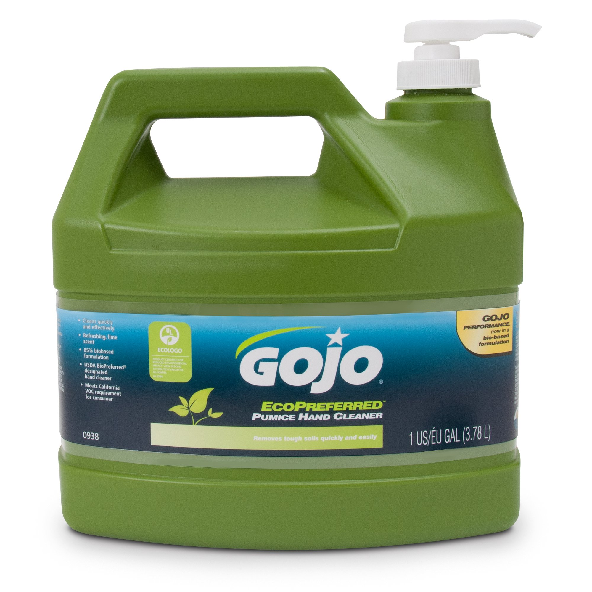 GOJO 0938-04 Ecopreferred Pumice Hand Cleaner 1 Gallon Pump Dispenser (Pack of 4)