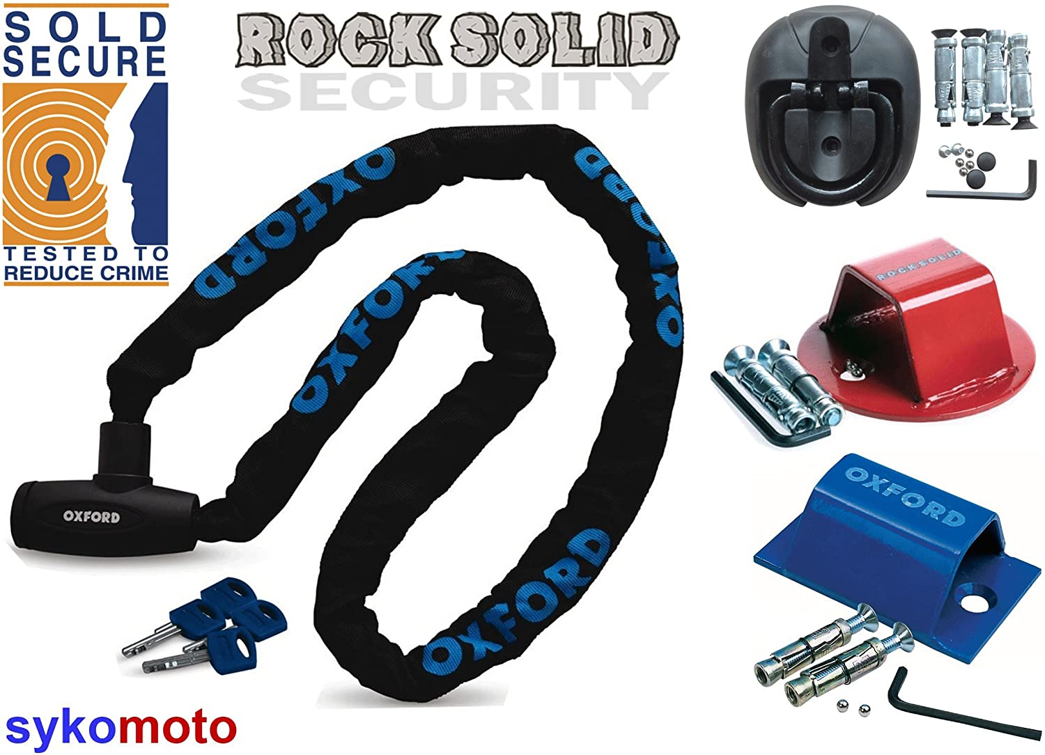Brute Force Oxford GP Chain Lock 150 CM Long With Ground Wall Anchor Multiple Options Rocksolid Atom Anchor