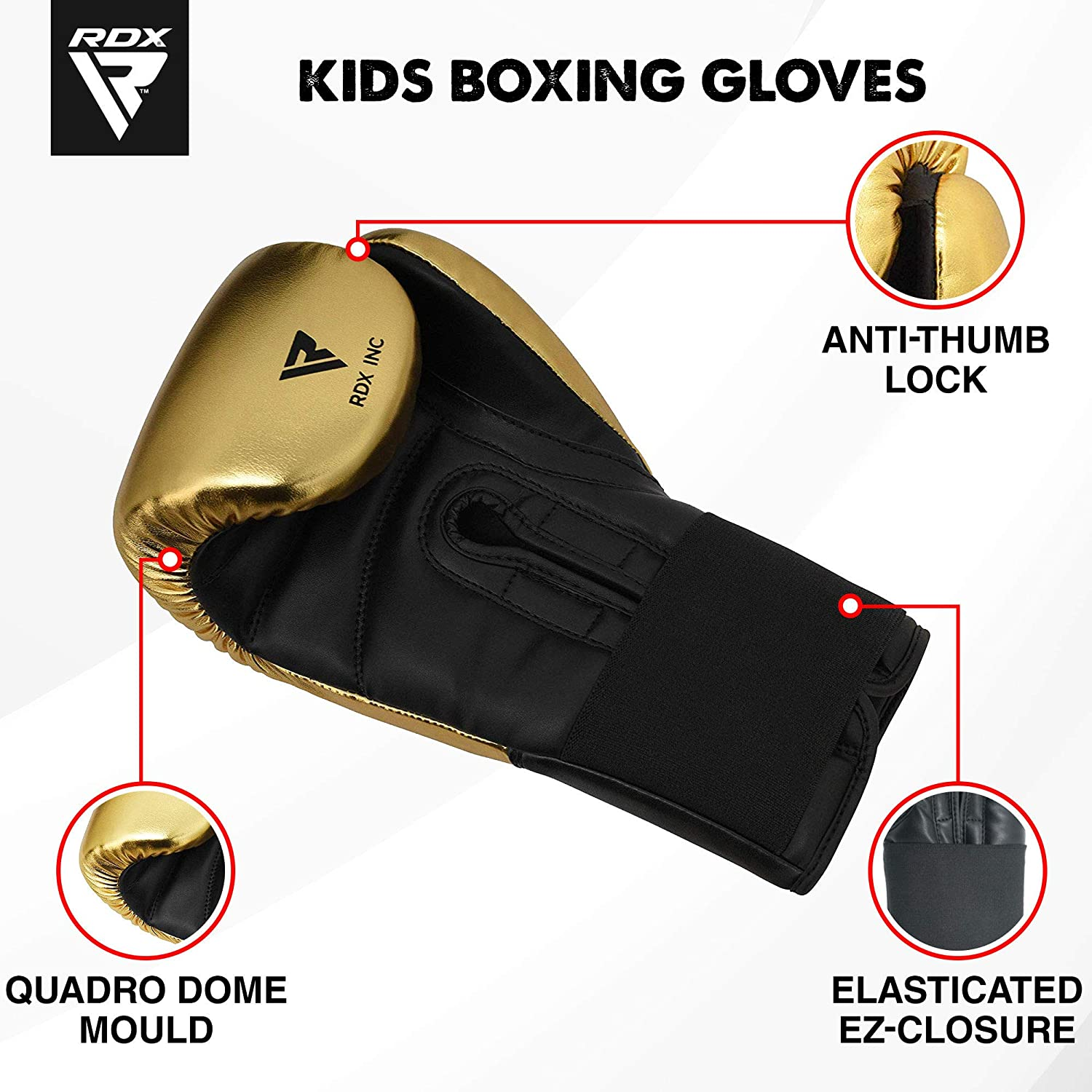 Sparring /& Fighting ConvEX Skin /& Metallic Leather Junior 8oz Mitts for Kickboxing Grappling Dummy and Focus Pads Punching Good for Youth Punch Bag RDX Kids Boxing Gloves for Training /& Muay Thai