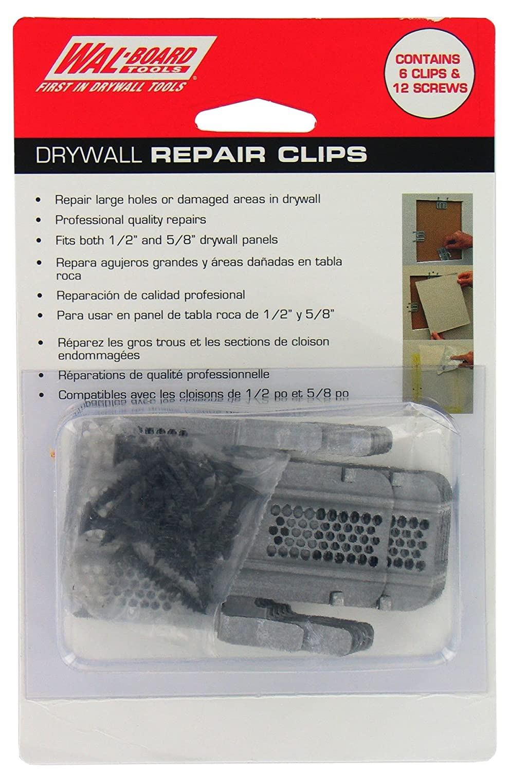 How to repair large hole in drywall - Walboard Tool 54 014 6 Count Drywall Repair Clips Wall Spackles Amazon Com