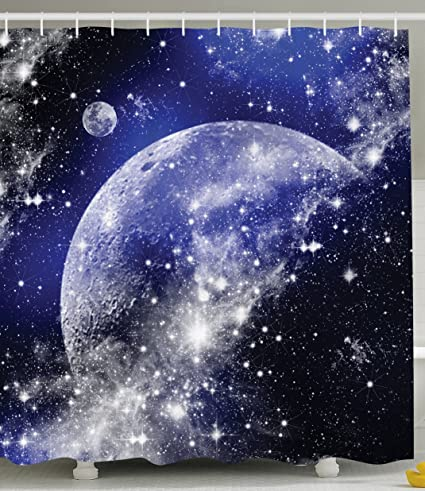Ambesonne Galaxy Nebula Shower Curtain Full Moon Phase Starry Night Sky Universe Infinity And Space Bathroom