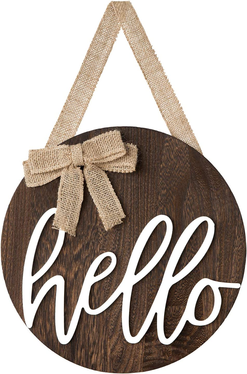Dahey Hello Sign Rustic Front Door Decor Round Wood Hanging Sign Farmhouse Porch Decorations for Home, Brown