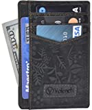 Valenchi - FRONT POCKET MINIMALIST RFID Wallet for Men and Women with multi card slots,Note pocket and ID window (Black Hunter Flower)