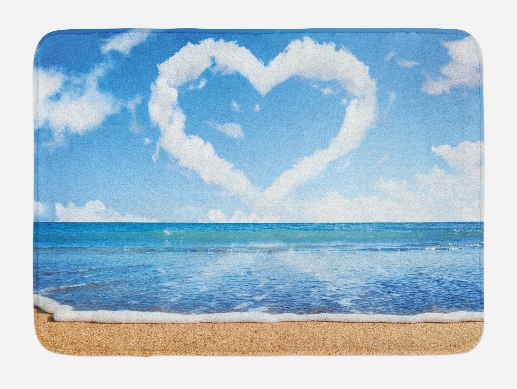 Ambesonne Valentines Day Bath Mat, Clouds in Clear Blue Sky Forming a Heart Shape Romantic Beach, Plush Bathroom Decor Mat with Non Slip Backing, 29.5 W X 17.5 W Inches, Blue White Sand Brown