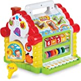 Colorful Musical Baby Fun House – Multi Game Educational Kids Toy with Shape Sorters, Music, Animal and Geometric Blocks, Piano Keys and Counting Math Beads – by ToyThrill