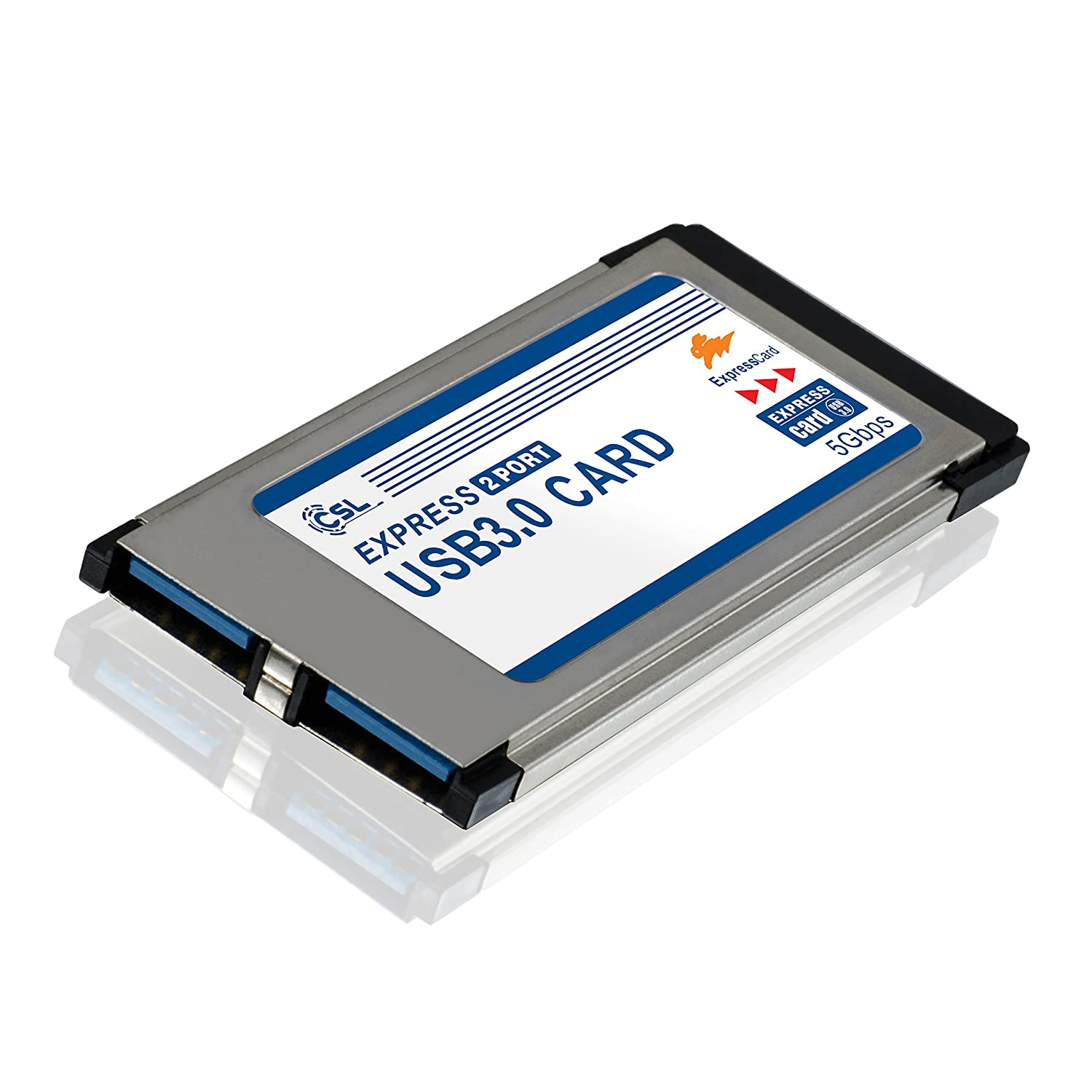 CSL - USB 3.0 Tarjeta PCMCIA Express Card Super Speed 34 mm 2 Puertos Compatible con Windows 10 para Notebook y Laptop