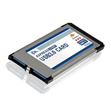 CSL - USB 3.0 Tarjeta PCMCIA Express Card Super Speed 34 mm 2 Puertos Compatible con Windows 10 para Notebook y Laptop