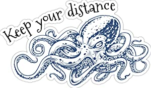 """4 All Times Keep Your Distance Octopus Automotive Car Decal for Cars, Trucks, Laptops (24.0"""" W x 14.1"""" H)"""