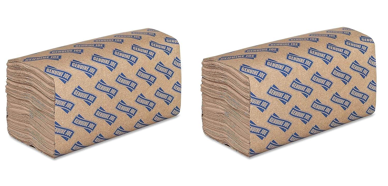 Genuine Joe GJO21020 1層 シングルフォールドペーパータオル 長さ10-1/4インチ x 幅9.10インチ ナチュラル 16枚入り 250枚パック 2-Pack B07N1M1DPF  2-Pack