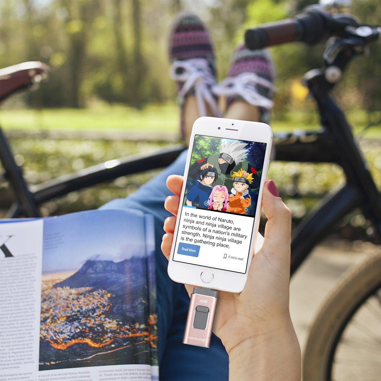 Computer USB Stick Externer Speicher Speichererweiterung Verschl/üsselte Speicherstick f/ür iOS und Android Handy HUGERSTONE USB Stick f/ür iPhone 32G, Ros/égold