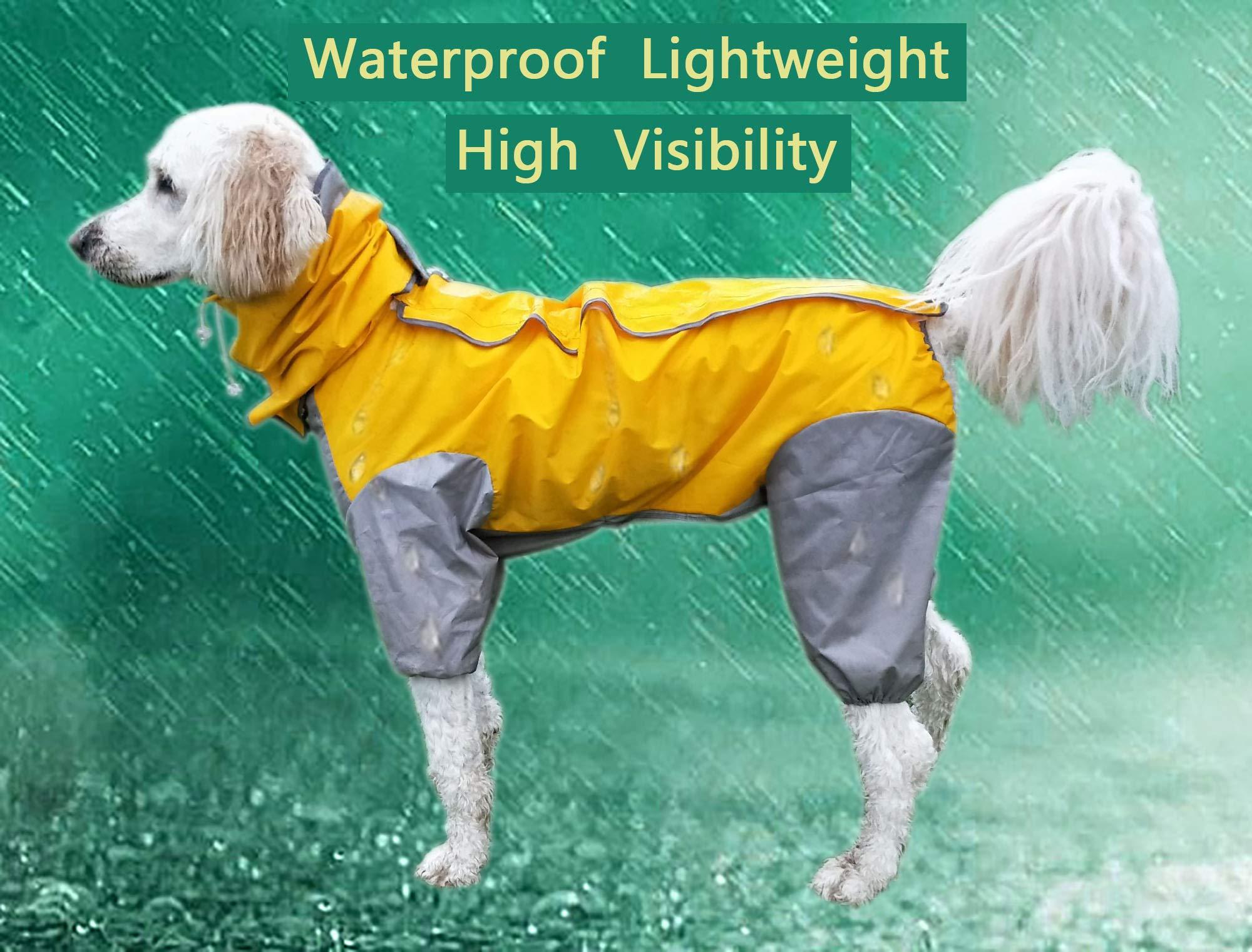 MASKOTA Dog Raincoats Waterproof Lightweight & High Visibility Full Range Sizes for Large Medium Small All Breeds Poncho Hoodies by MASKOTA