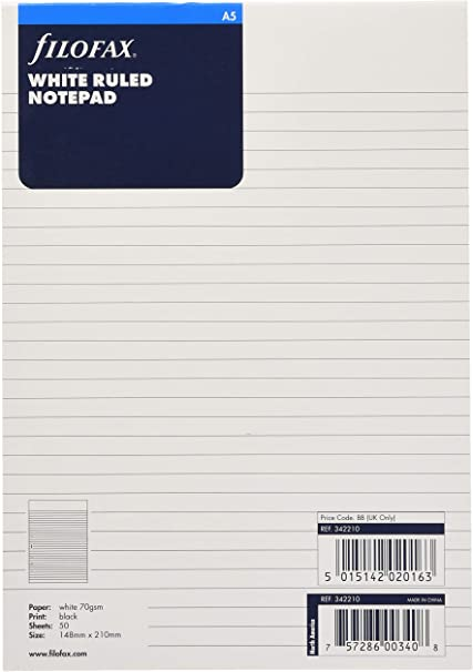 Refill Filofax A5 White Ruled Notepaper Single