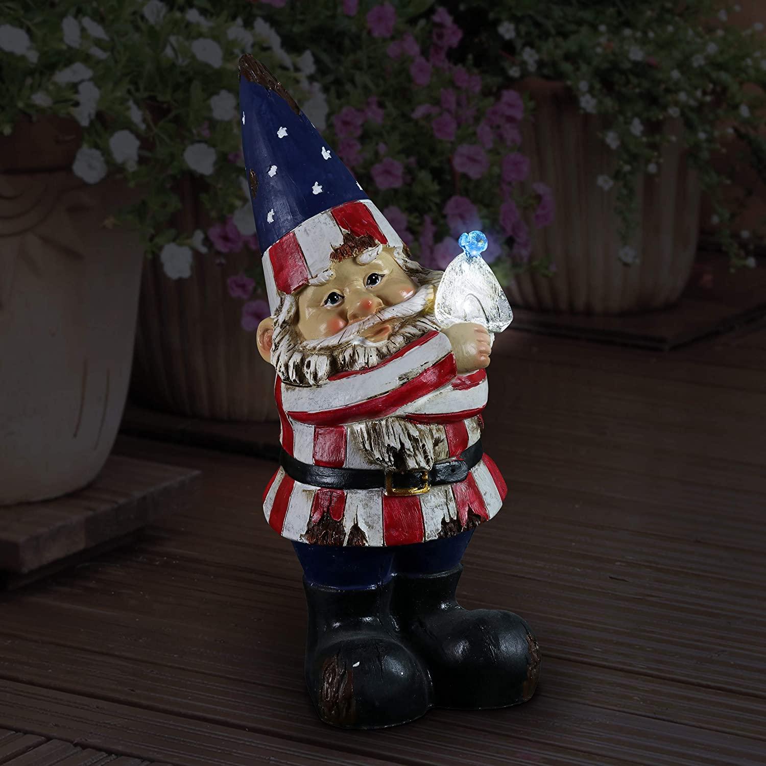 Exhart Patriotic Funny Garden Statue w/Battery Powered LED Bird Light | Hand Painted in Vibrant Color | Outdoor Art for Patio or Garden, UV Treated & Weather Resistant Gnome Statue 5