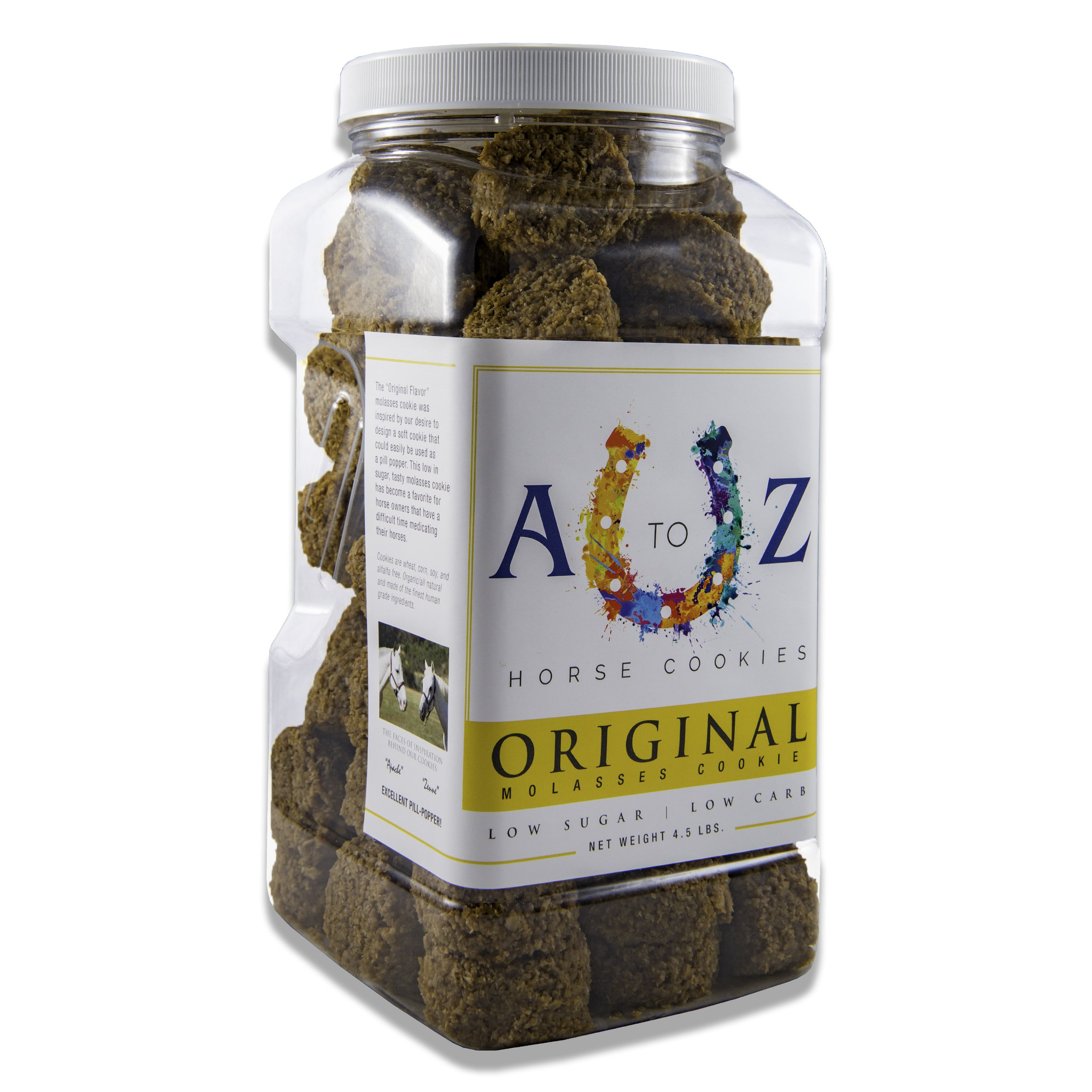 Horse Cookie Treat: Original Flavor by A to Z Horse Cookies, Low Carb Low Sugar Softer Treats, Organic, Great For All Horses And Excellent For Those With Metabolic Conditions, 4.5 lbs Jar by A to Z Horse Cookies (Image #1)