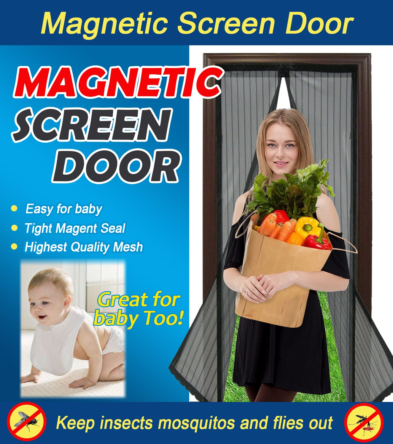 Magnetic Screen Door Heavy Duty Mesh Curtain and Full Frame Velcro Fits Door Size Up To 34''x83'' Max,Black by SOTEN