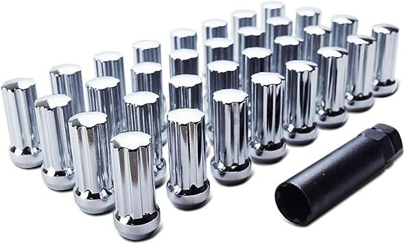 Pack of 24 + Key 9//16-18 Thread WheelGuard 98-0420L 2 Height Acorn Spline Lug Nut Chrome Plating